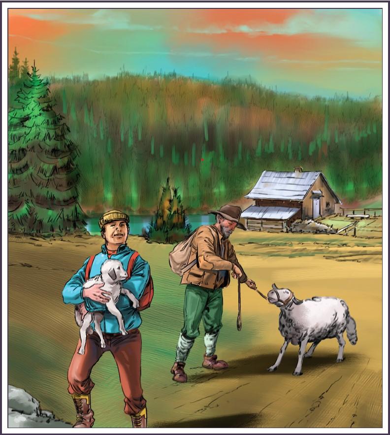 ljudje_v_gorah_pastirska_zgodba_z_bohinjskih_planin_ilustracija_milan_pluzarev